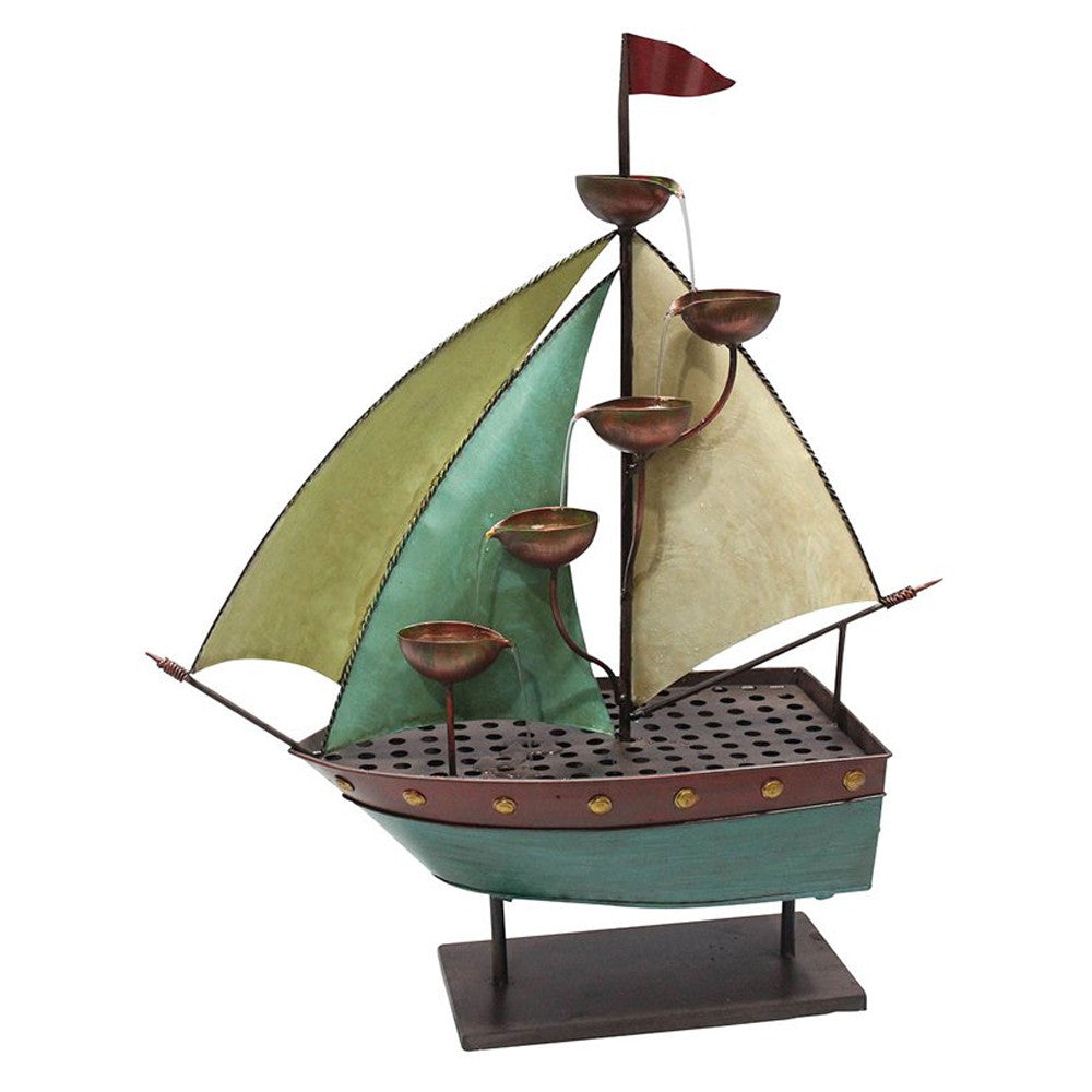 Sailor Ship With 5 Leaf Cup Tier Floor Fountain - Soothing Walls