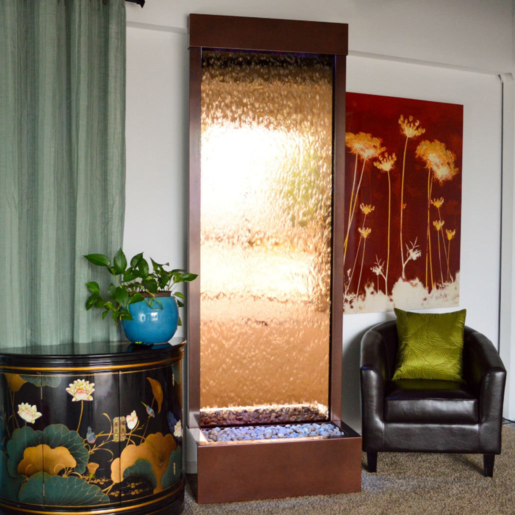 7.5' Gardenfall Bronze Mirror and Dark Copper Floor Fountain with LED Lights - SoothingWalls