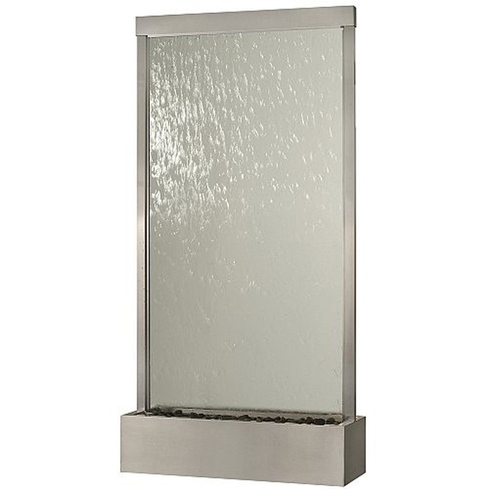 Grande Brushed Stainless Steel and Clear Glass Floor Fountain (Small) - Soothing Walls