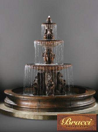 3 Tier Cavalli Fountain with 12 foot Bracci Basin - SoothingWalls