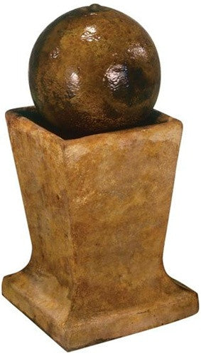 Sphere on Low Pedestal Outdoor Fountain