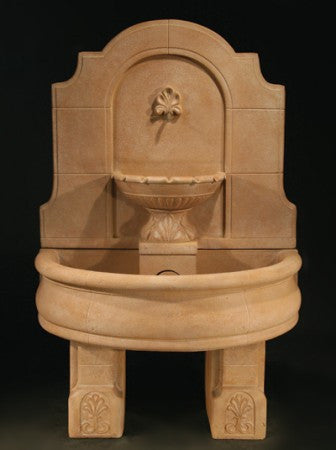 Provincial Wall Fountain with Basin and Pedestals - Soothing Walls