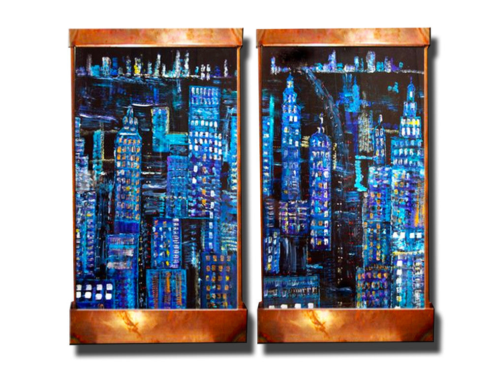 4 Foot tall Rainy Night Manhattan Diptic Wall Fountain - Soothing Walls