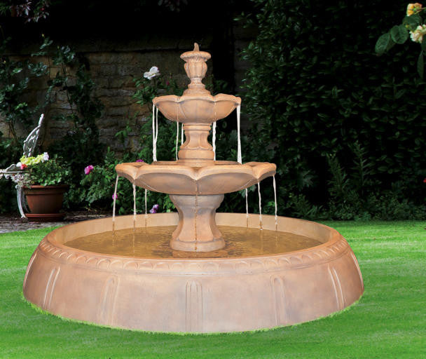 Finial Tiered Outdoor Fountain in Perpetual Pool - Soothing Walls