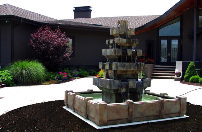 Cascadia Outdoor Fountain in Dimensions Pool - Soothing Walls