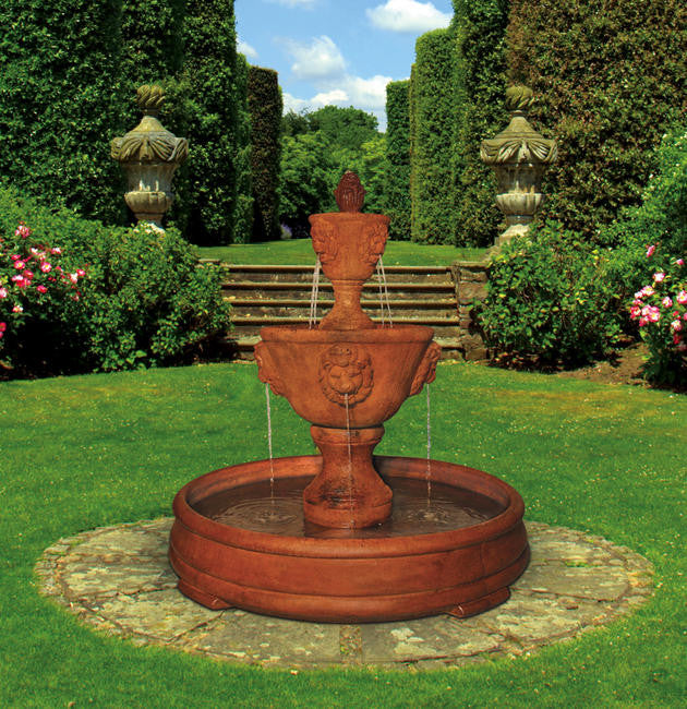 Medium Two-tier Leonesco Fountain in Grando Pool - Soothing Walls