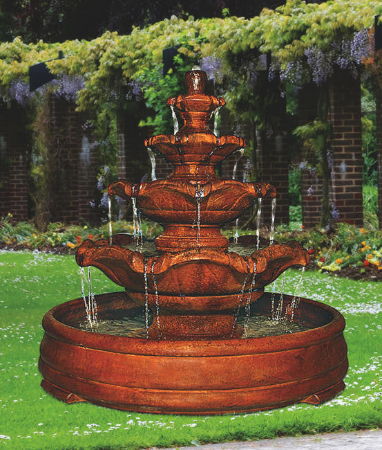 Quattro Classic Tier Fountain in Grando Pool - Soothing Walls