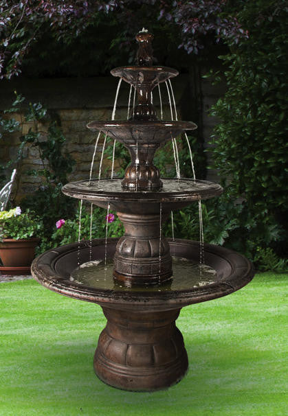 Grande Contemporary Four-tier Outdoor Fountain - Soothing Walls