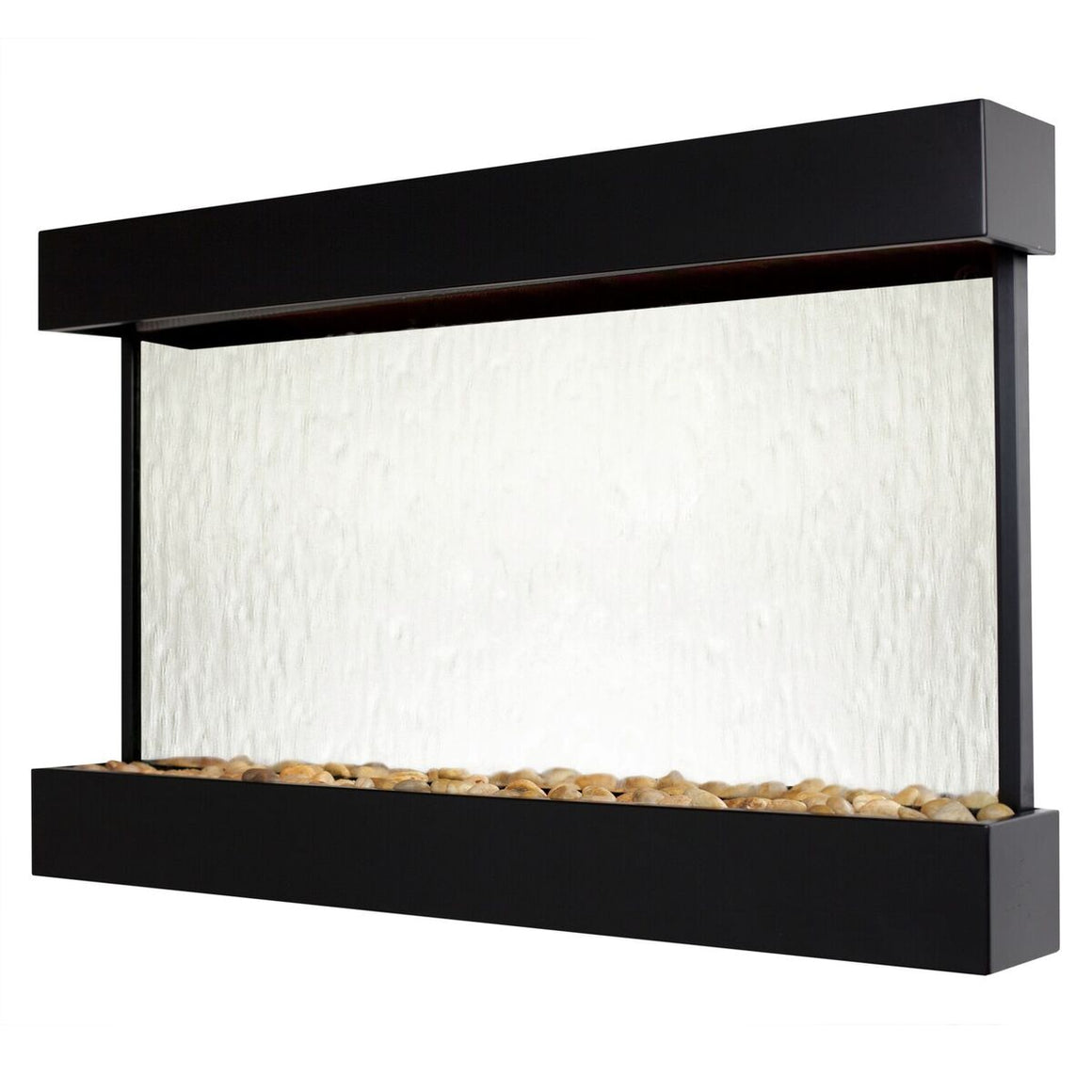 Echo Falls Large Horizontal Silver Mirror with Black Trim - Soothing Walls