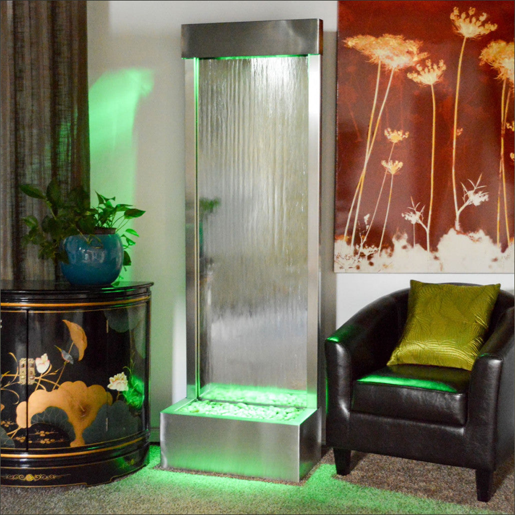 6' Gardenfall Silver Mirror and Brushed Stainless Steel Floor Fountain With LED Lights - SoothingWalls
