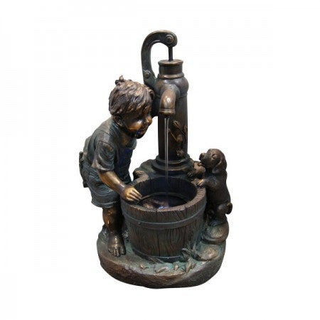 Boy and Water Pump Fountain - SoothingWalls