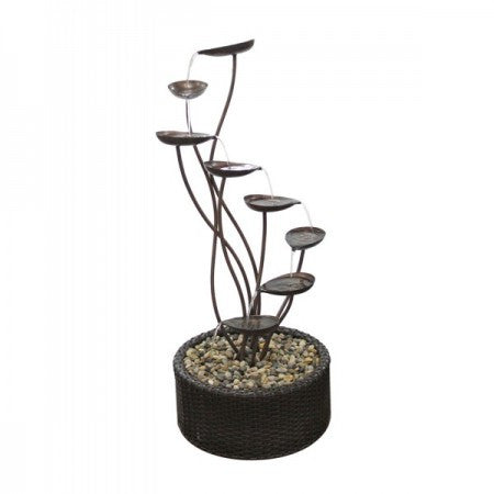 Metal Tiering Leaf Garden Water Fountain