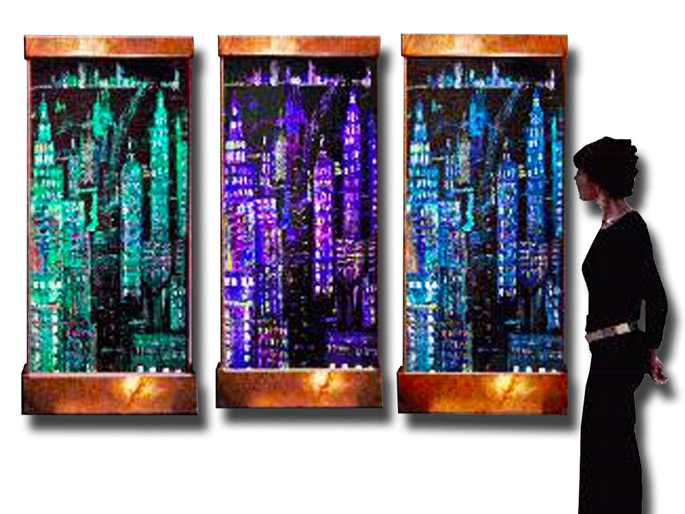 8 Foot Wide Manhattan Tryptic Wall Fountain - SoothingWalls
