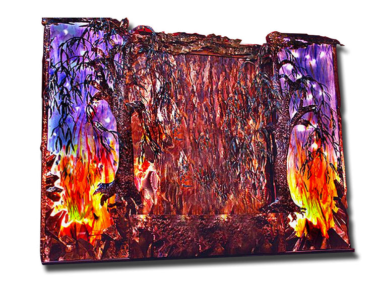 8 Foot Wide Fire and Rain Wall Fountain - SoothingWalls