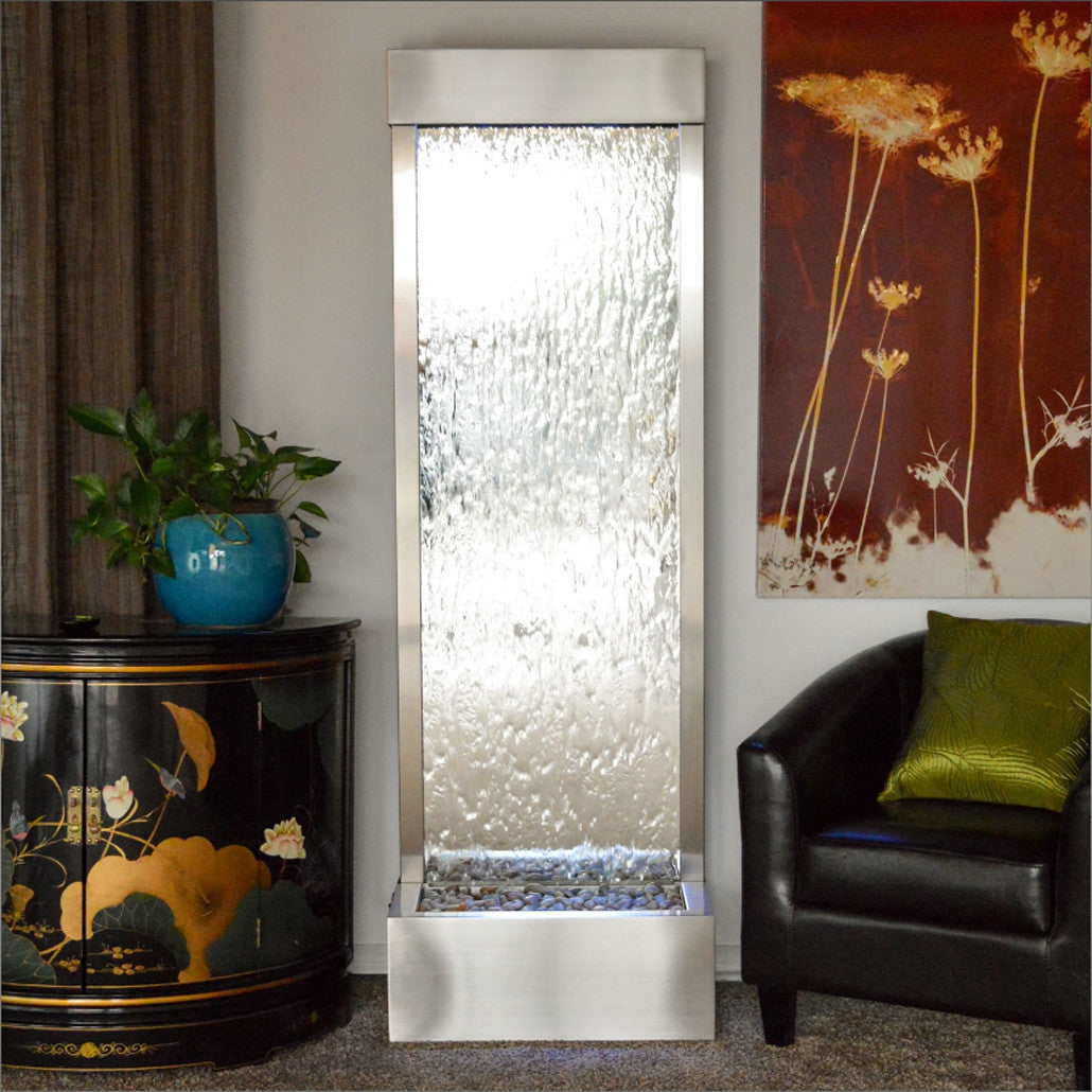 6' Gardenfall Silver Mirror and Brushed Stainless Steel Floor Fountain With LED Lights - Soothing Walls
