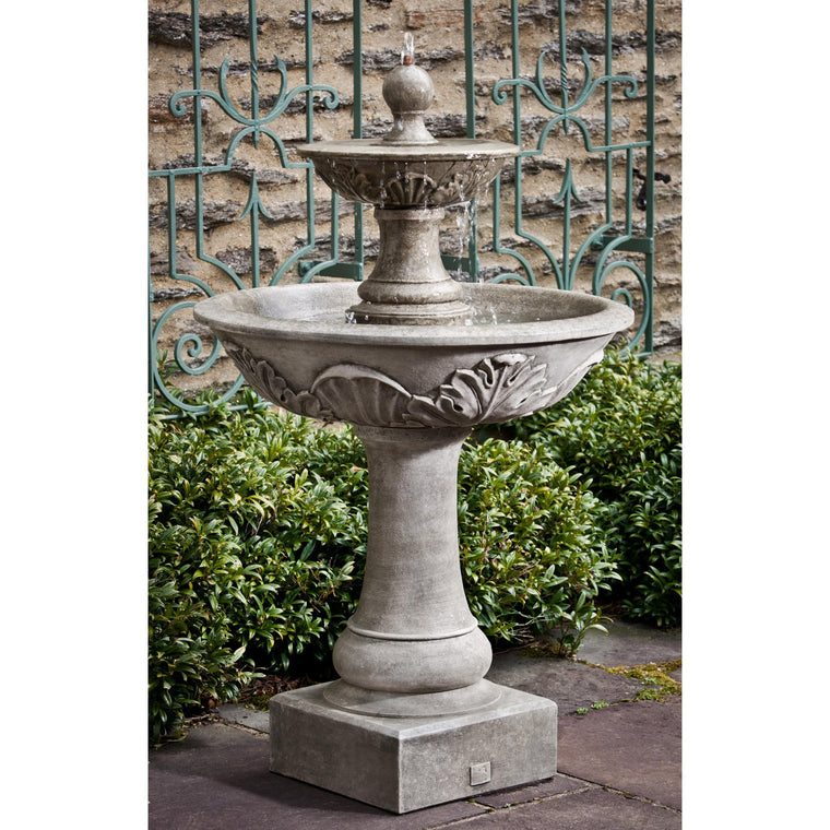Acanthus Two Tiered Outdoor Fountain - Soothing Walls