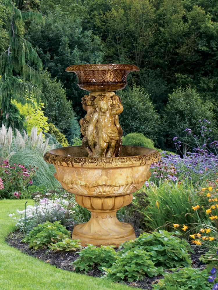 Antique Cherubs Outdoor Water Fountain