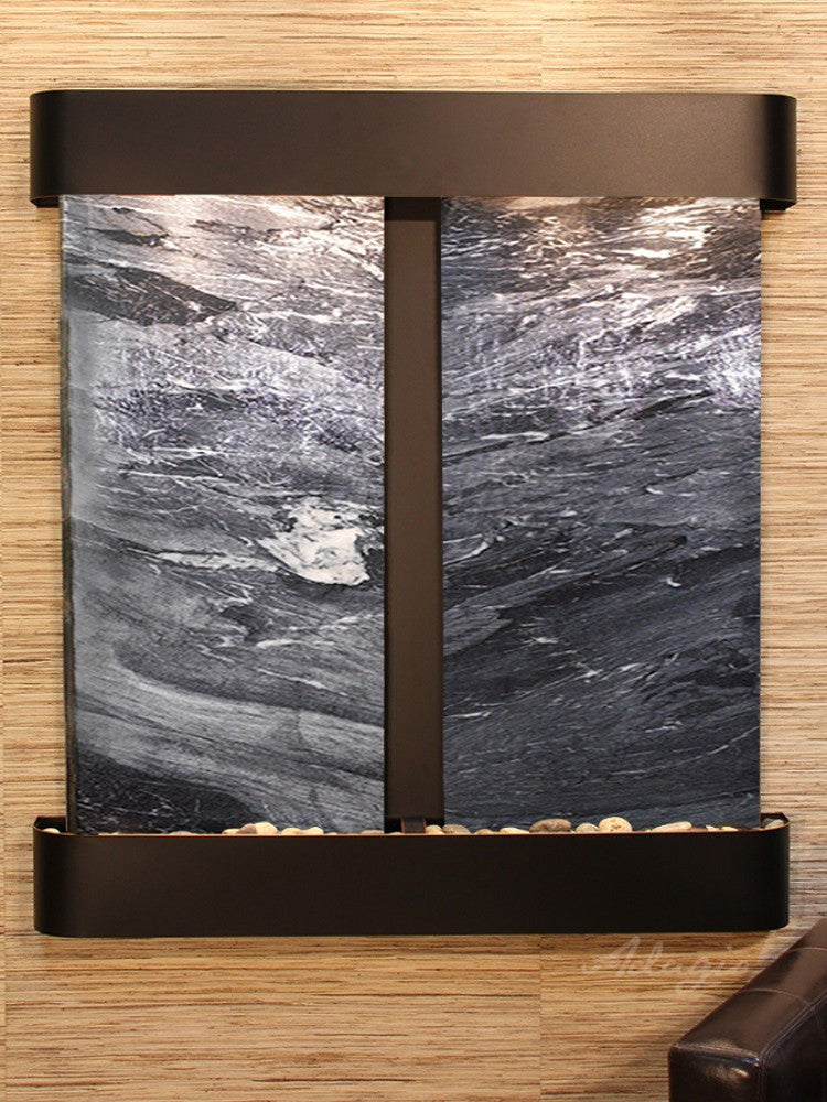 Aspen Falls: Black Spider Marble and Blackened Copper Trim with Rounded Corners