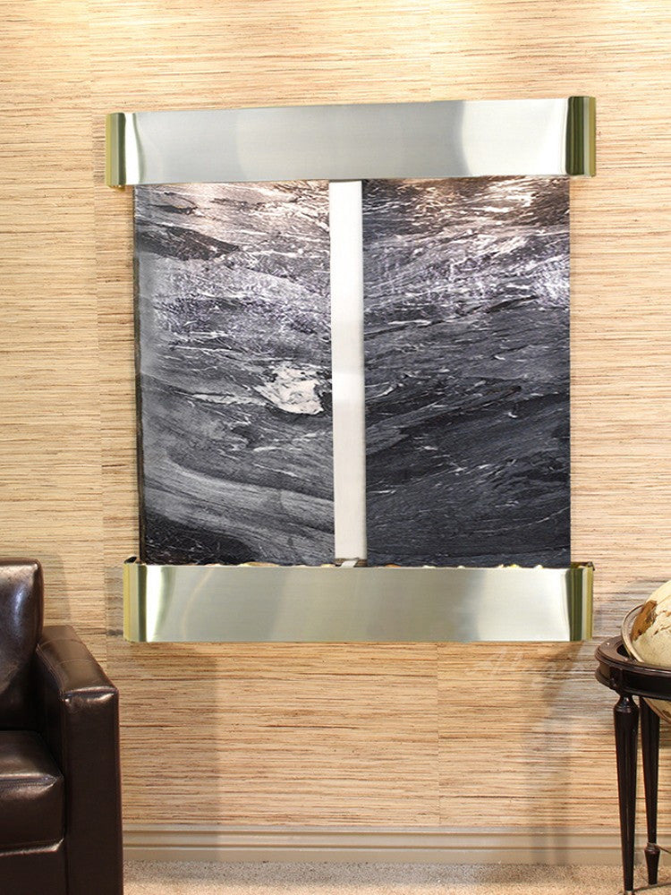 Aspen Falls: Black Spider Marble and Stainless Steel Trim with Rounded Corners