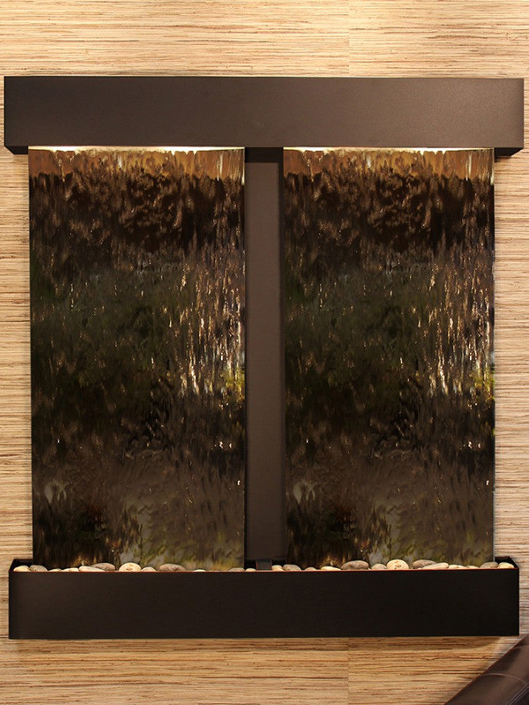 Aspen Falls: Bronze Mirror and Blackened Copper Trim with Squared Corners