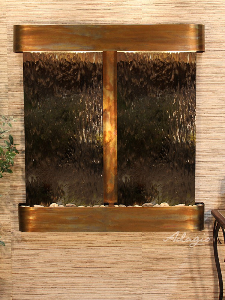 Aspen Falls: Bronze Mirror and Rustic Copper Trim with Rounded Corners