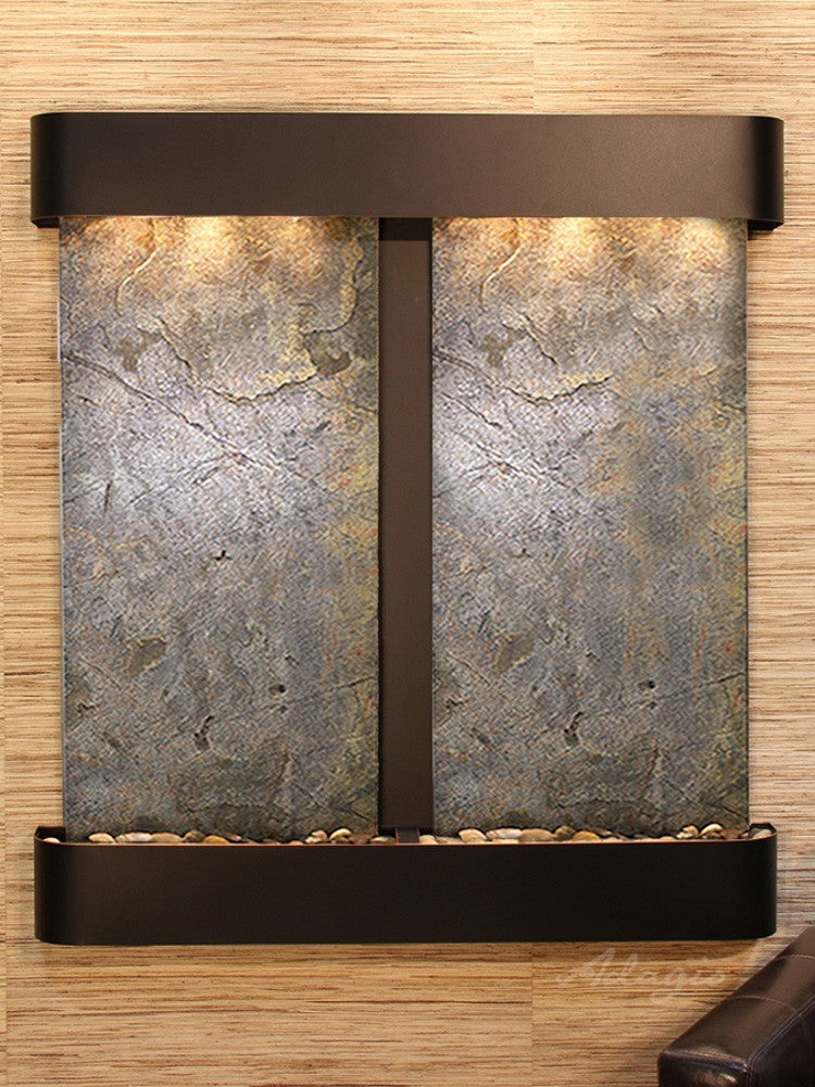 Aspen Falls: Green FeatherStone and Blackened Copper Trim with Rounded Corners