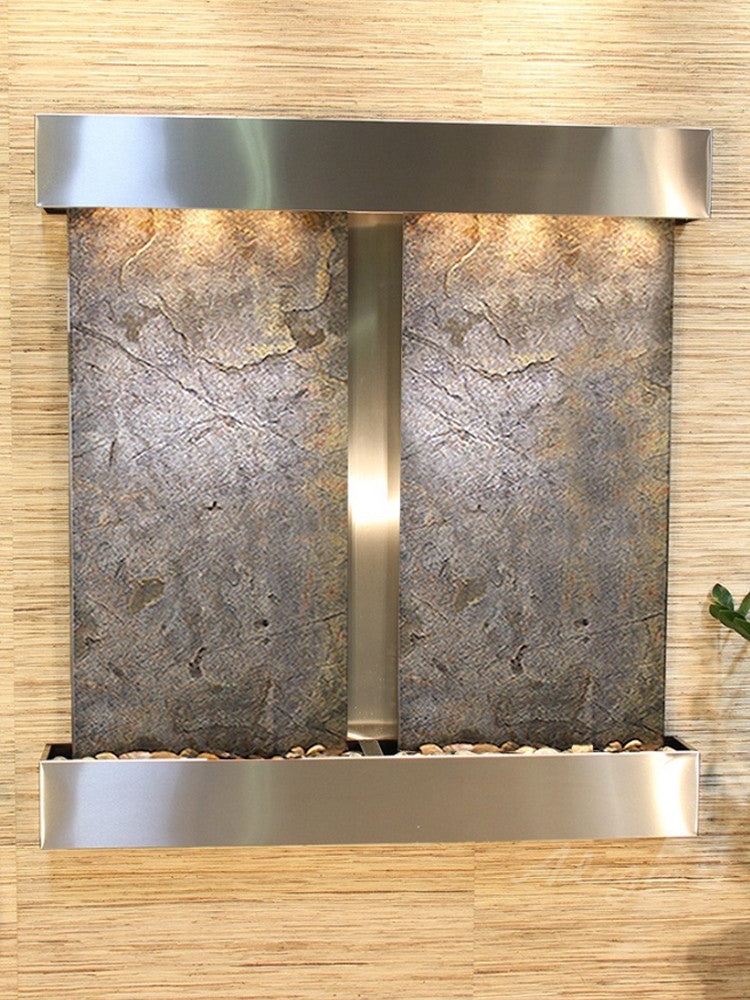 Aspen Falls: Green FeatherStone and Stainless Steel Trim with Squared Corners