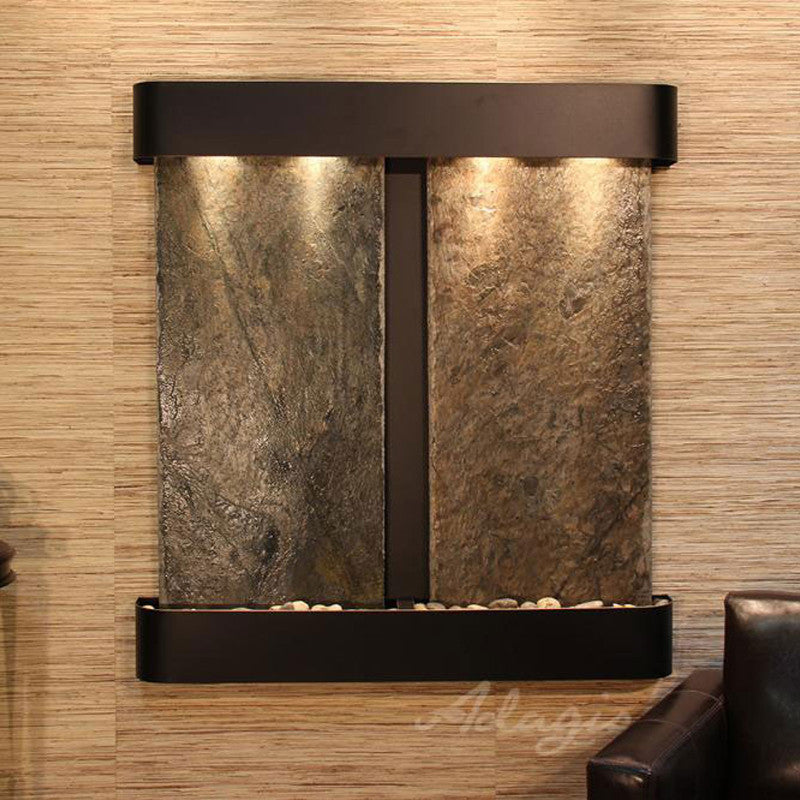 Aspen Falls - Green Slate - Blackened Copper - Rounded Corners - Soothing Walls