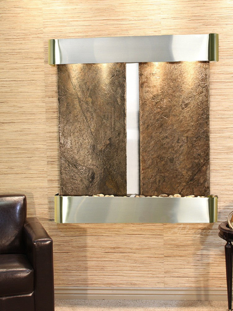 Aspen Falls - Green Slate - Stainless Steel - Rounded Corners - Soothing Walls