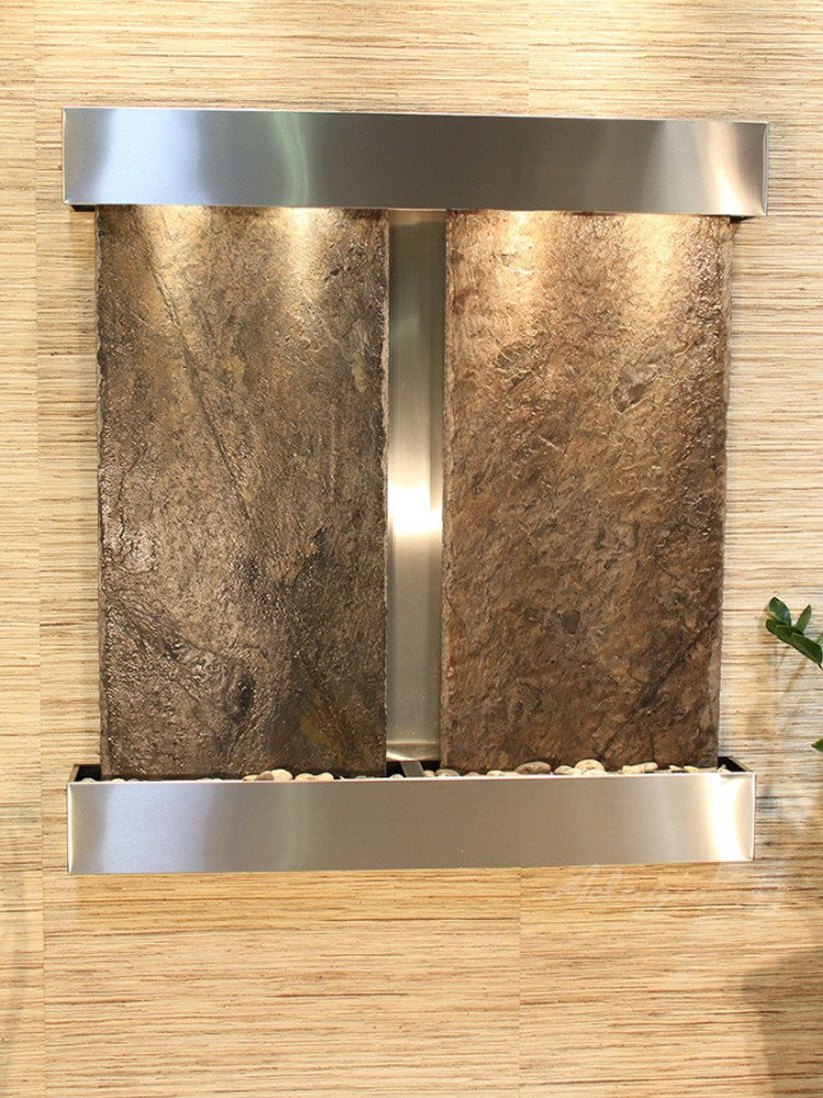 Aspen Falls: Green Slate and Stainless Steel Trim with Squared Corners
