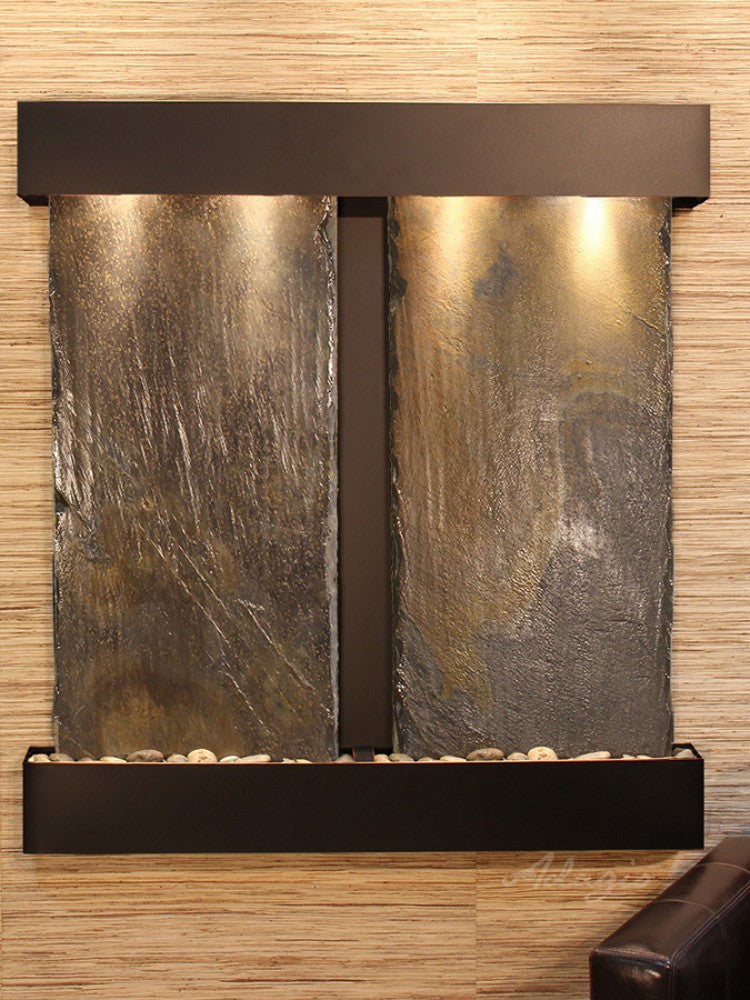 Aspen Falls - Multi-Color Slate - Blackened Copper - Squared Corners - Soothing Walls
