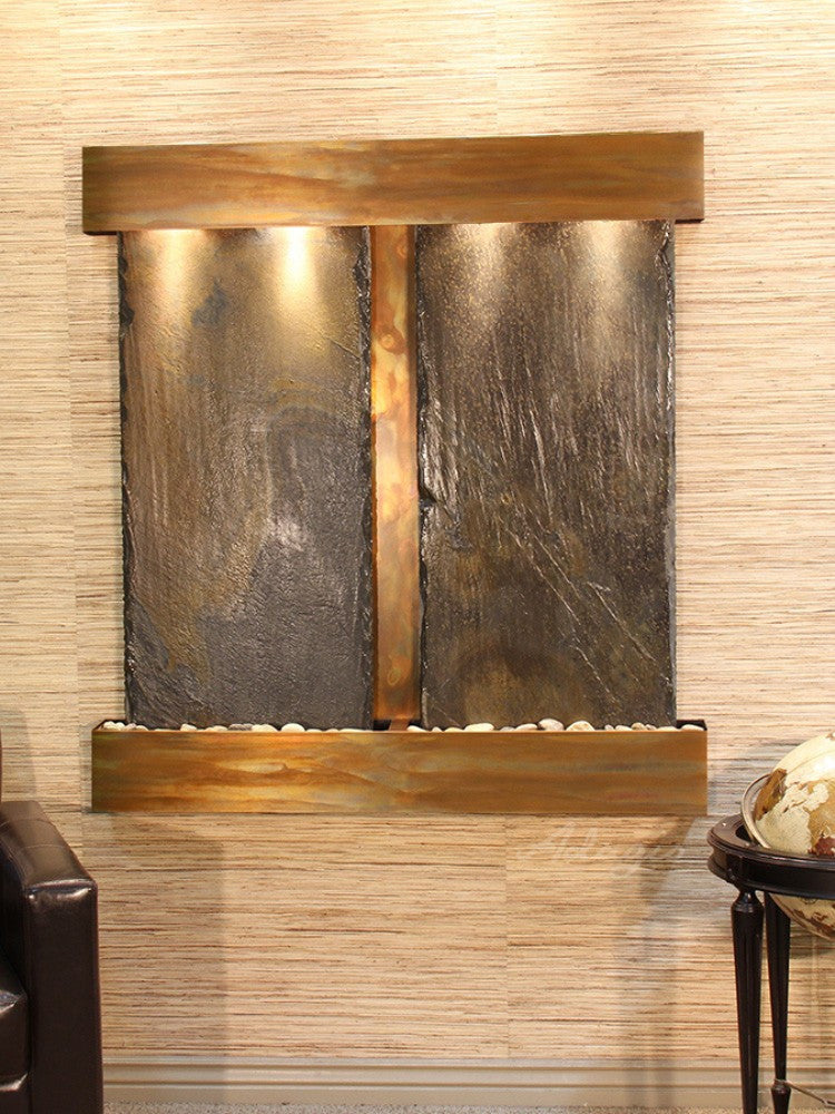 Aspen Falls - Multi-Color Slate - Rustic Copper - Squared Corners - Soothing Walls