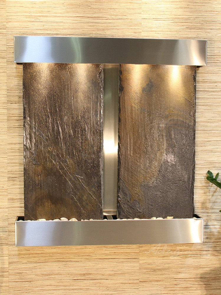 Aspen Falls - Multi-Color Slate - Stainless Steel - Squared Corners - Soothing Walls