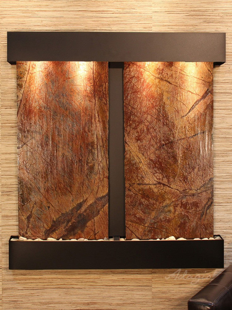 Aspen Falls: Rainforest Brown Marble and Blackened Copper Trim with Squared Corners