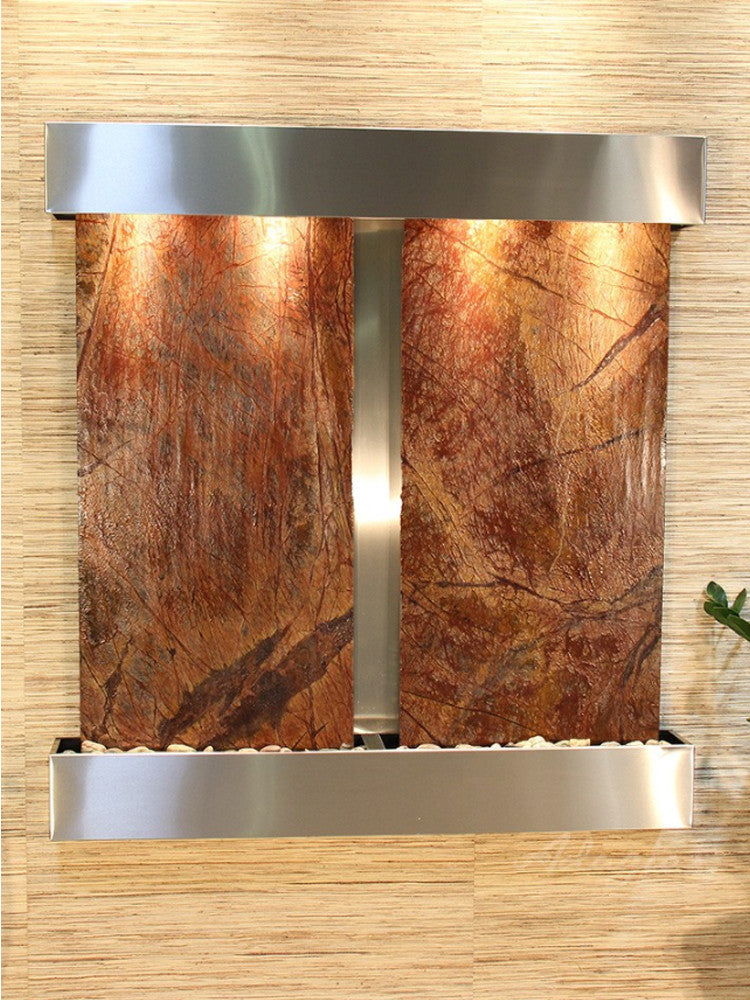 Aspen Falls: Rainforest Brown Marble and Stainless Steel Trim and Squared Corners