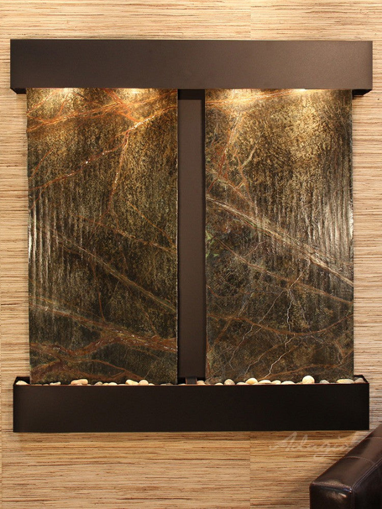 Aspen Falls: Rainforest Green Marble and Blackened Copper Trim with Squared Corners
