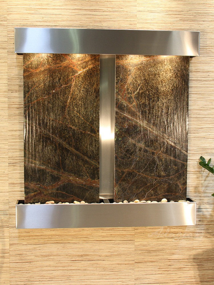 Aspen Falls: Rainforest Green Marble and Stainless Steel Trim with Squared Corners
