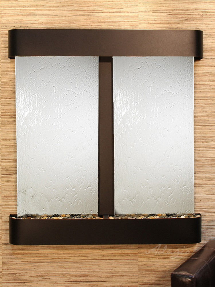 Aspen Falls: Silver Mirror and Blackened Copper Trim with Rounded Corners