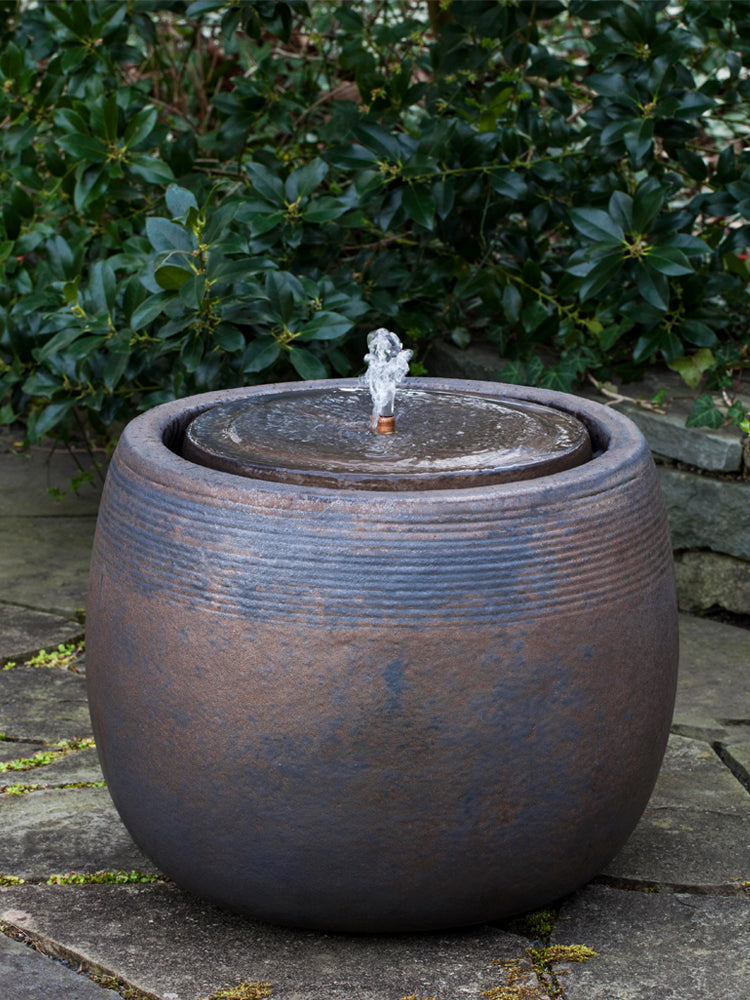 Boden Glazed Garden Fountain in Bronze - Outdoor Fountains - Soothing Walls