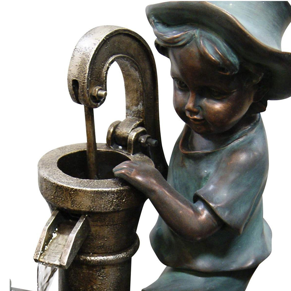 Boy and Girl Fetching Water Fountain - Soothing Walls