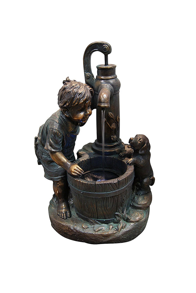 Boy And Water Pump Fountain With LED Light - SoothingWalls