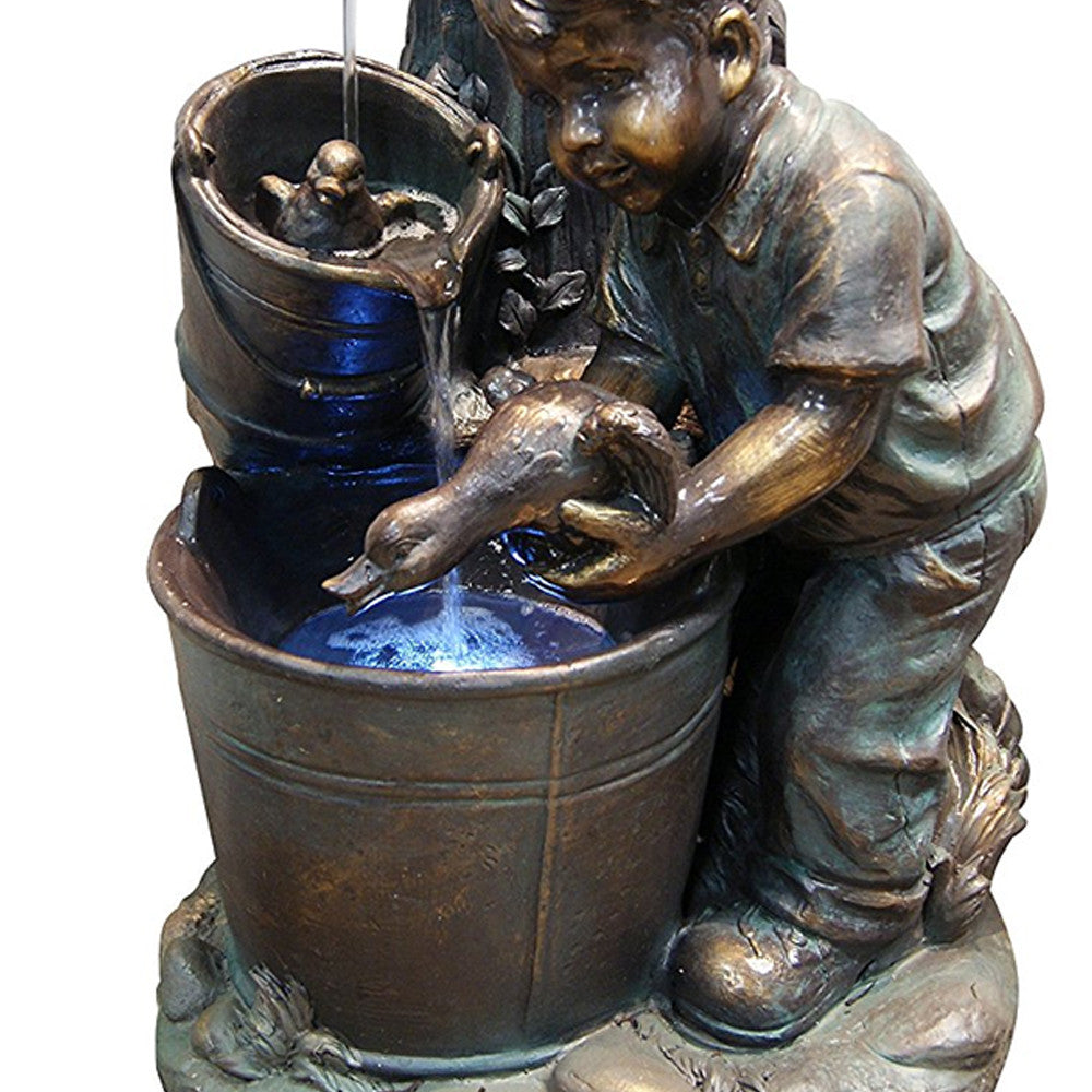 Boy Washing Duck In Bucket Fountain With LED Light - Soothing Walls