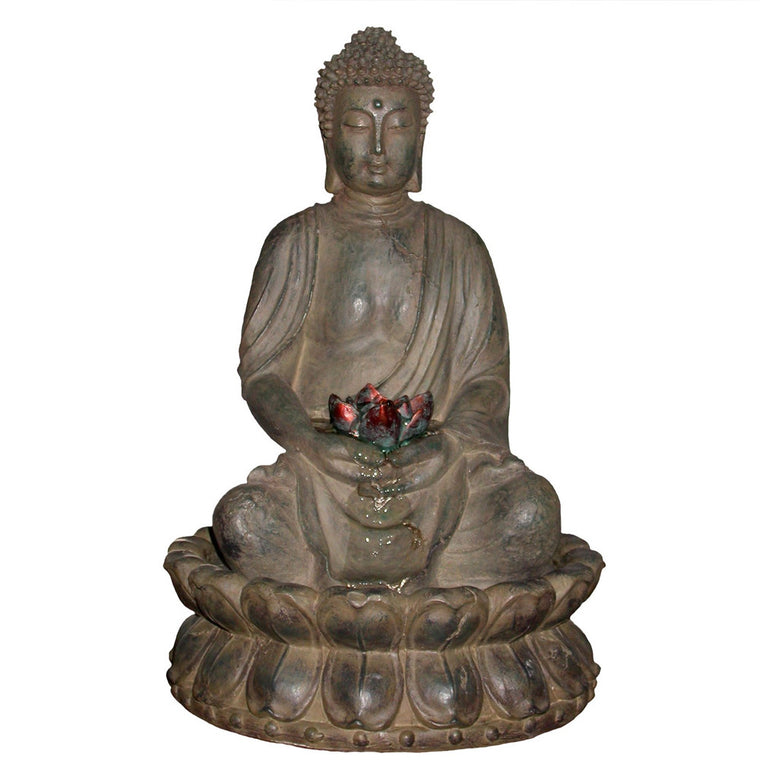 Tabletop Buddha Water Feature w/ LED Light - Soothing Walls