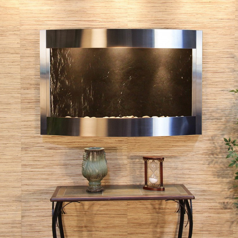 Calming Waters - Black FeatherStone - Stainless Steel - Soothing Walls