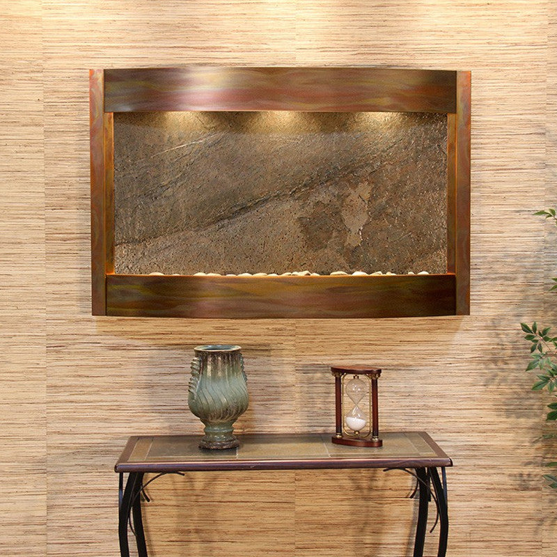 Calming Waters - Green FeatherStone - Rustic Copper - Soothing Walls