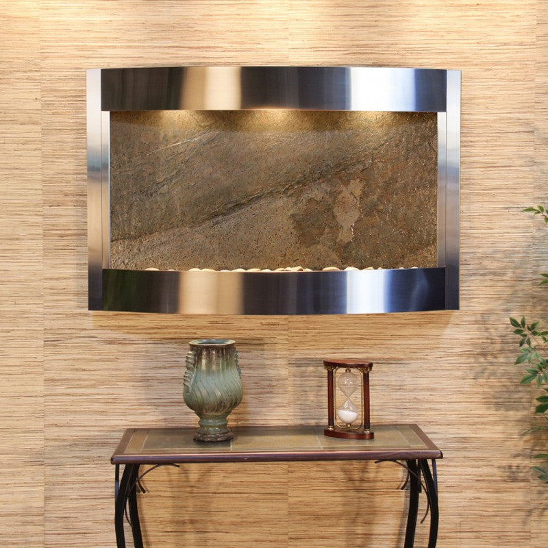 Calming Waters - Green FeatherStone - Stainless Steel - Soothing Walls