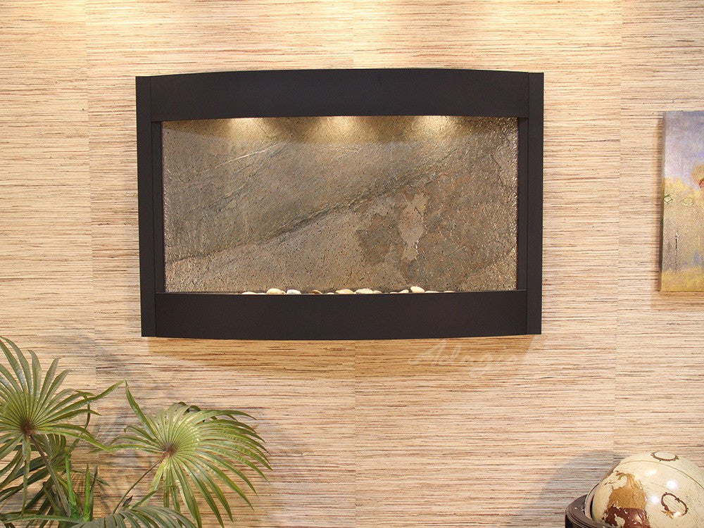 Calming Waters - Green FeatherStone - Textured Black - Soothing Walls