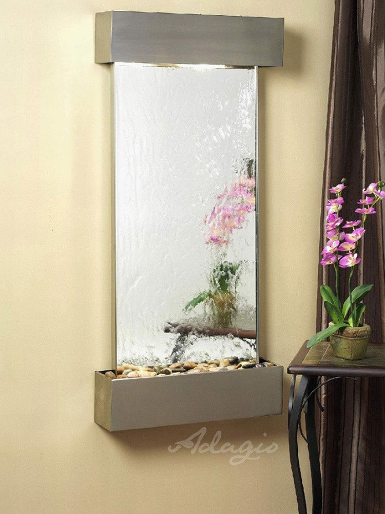Cascade Springs - Silver Mirror - Stainless Steel - Squared Corners - Soothing Walls