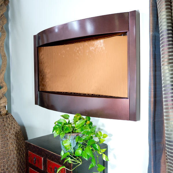 Contempo Largo Solare Wall Fountain Bronze Mirror & Dark Copper - SoothingWalls