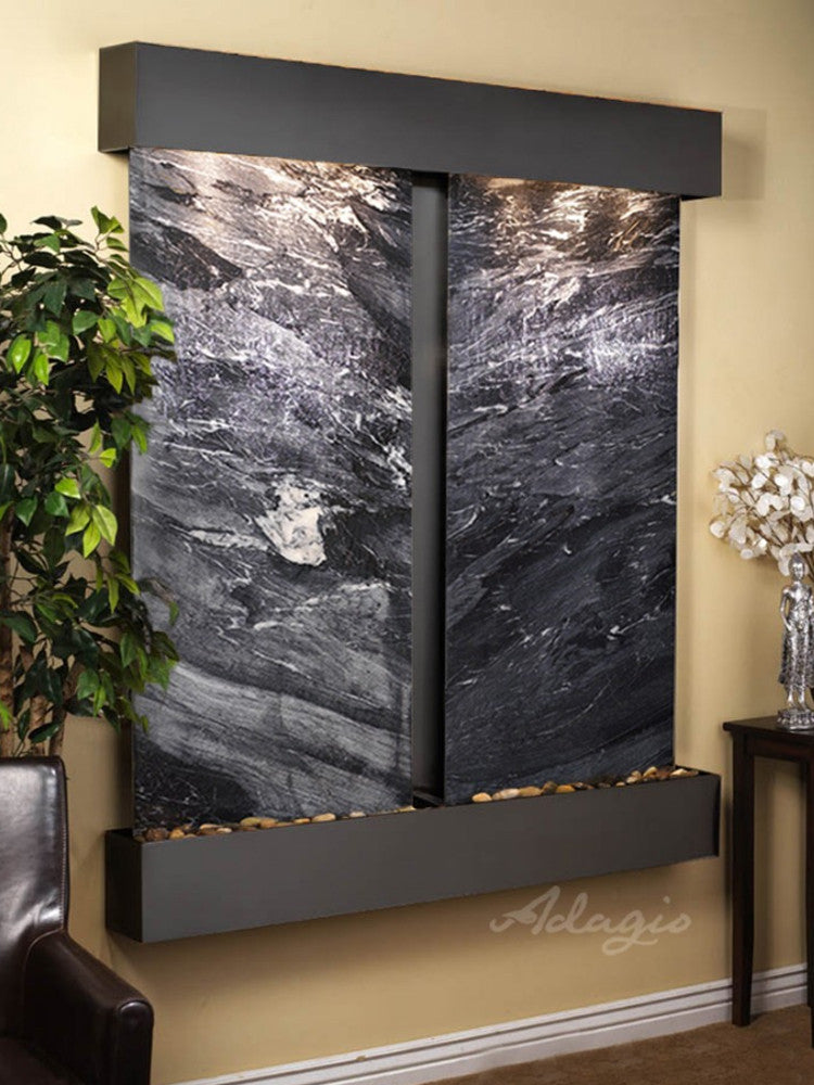 Cottonwood Falls: Black Spider Marble and Blackened Copper Trim with Squared Corners